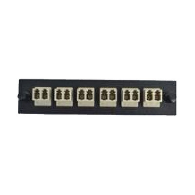 LGX Compatible Adapter Plate featuring a Bank of 6 Multimode Duplex LC Connectors in Beige for OM1 and OM2 applications, Black Powder Coat - Part Number: 68F3-11160
