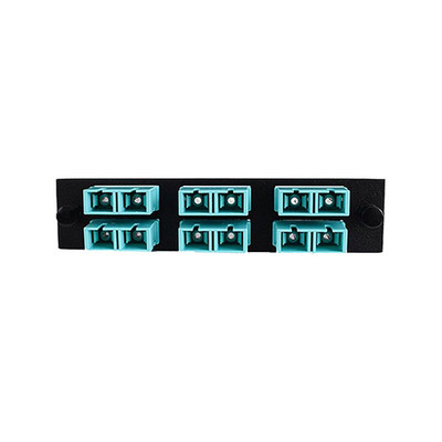 LGX Compatible Adapter Plate featuring a Bank of 6 Multimode Duplex SC Connectors in Aqua for OM3 and OM4 10Gbit applications, Black Powder Coat - Part Number: 68F3-20060
