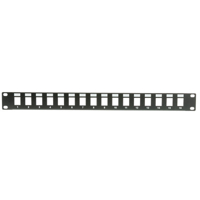Rackmount 16 Port Blank Keystone Patch Panel, 1U - Part Number: 68PB-01016