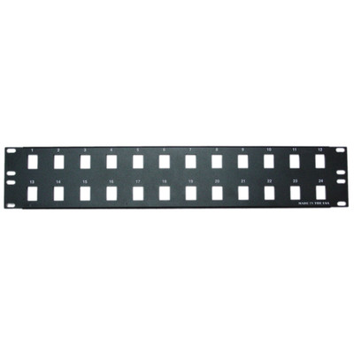 Rackmount 24 Port Blank Keystone Patch Panel, 2U - Part Number: 68PB-01024