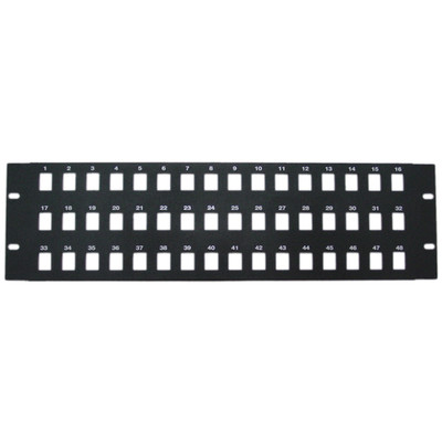 Rackmount 48 Port Blank Keystone Patch Panel, 3U - Part Number: 68PB-02048