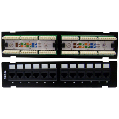Wall Mount 12 Port Cat5e Patch Panel, 110 Type, 568A & 568B Compatible, 10 inch - Part Number: 68PP-03012-10