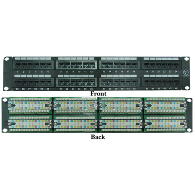 Rackmount 48 Port Cat6 Patch Panel, Horizontal, 110 Type, 568A & 568B Compatible, 2U - Part Number: 69BK-06048