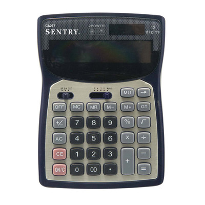 Deluxe Desktop Calculator, 12-Digit Display, Solar With Back Up Battery - Part Number: 7201-10300