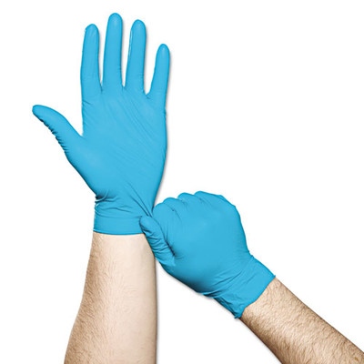 Ansell TouchNTuff Disposable Nitrile Gloves, 5 mil, Teal, Large, 8.5 - 9, Powder-Free, 100/Box - Part Number: 7301-02203