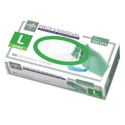 Medline Professional Nitrile Exam Gloves with Aloe, Large, Green, 100/Box - Part Number: 7301-02508