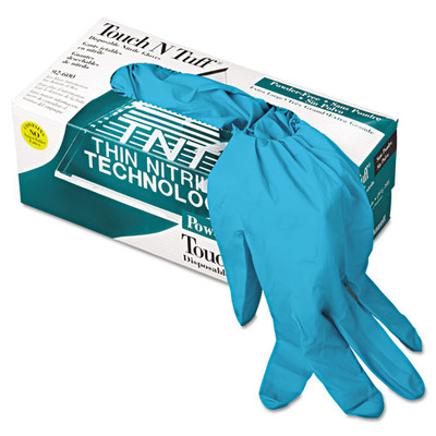 Ansell TouchNTuff Disposable Nitrile Gloves, 5 mil, Teal, X-Large, 9.5 - 10, Powder-Free, 100/Box - Part Number: 7301-04202