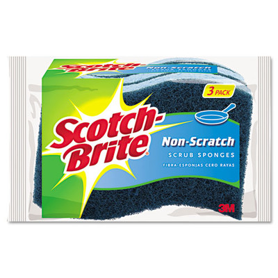 Scotch-Brite Non-Scratch Multi-Purpose Scrub Sponge, 4 2/5 x 2 3/5, Blue, 3/Pack - Part Number: 7302-00401