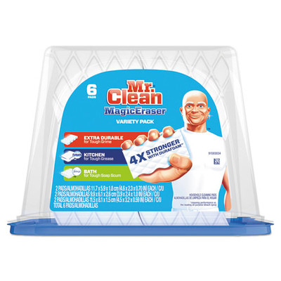 Mr. Clean Magic Eraser Foam Pad, 2 2/5 x 4 3/5 inches, Variety Pack, White/Blue, 6/Pack - Part Number: 7302-00502