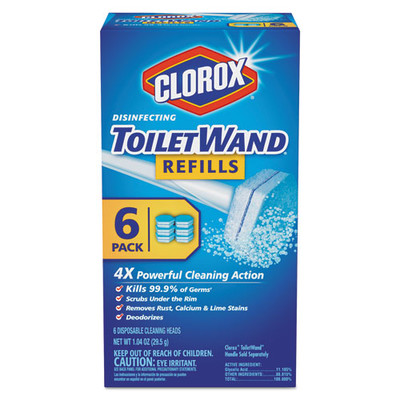 Clorox Disinfecting ToiletWand Refill Heads, 6/Pack - Part Number: 7302-07201