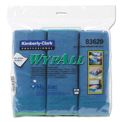 Wypall Microfiber Cloths, Reusable, 15 3/4 x 15 3/4, Blue, 6/Pack - Part Number: 7303-00512