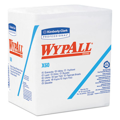 WypAll X60 Cloths, 1/4 Fold, 12 1/2 x 13 inches, White, 76/Box - Part Number: 7303-00513