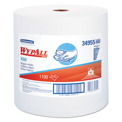 WypAll X60 Cloths, Jumbo Roll, White, 12 1/2 x 13 2/5, 1100 Towels/Roll - Part Number: 7303-00514