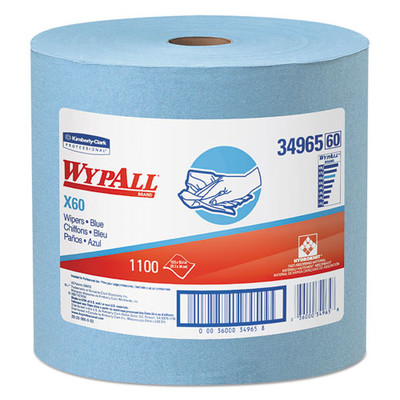 WypAll X60 Cloths, Jumbo Roll, 12 1/2 x 13 2/5, Blue, 1100/Roll - Part Number: 7303-00515