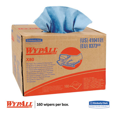 WypAll X80 Cloths, BRAG Box, HYDROKNIT, Blue, 12 1/2 x 16 4/5, 160 Wipers/Carton - Part Number: 7303-00516