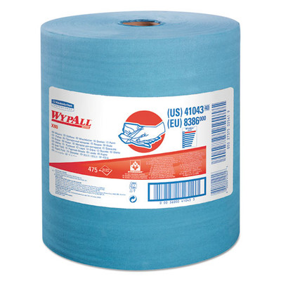 WypAll X80 Cloths with HYDROKNIT, Jumbo Roll, 12 1/2 x 13 2/5, Blue, 475/Roll - Part Number: 7303-00517