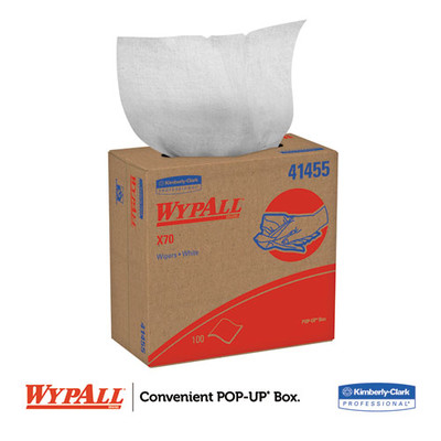 WypAll X70 Cloths, POP-UP Box, 9 1/10 x 16 4/5, White, 100/Box - Part Number: 7303-00518