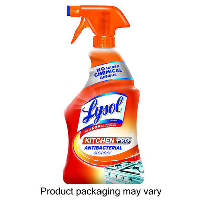 Lysol Kitchen Pro Antibacterial Cleaner & Disinfectant, Citrus Scent, 22 oz Spray Bottle - Part Number: 8301-00121