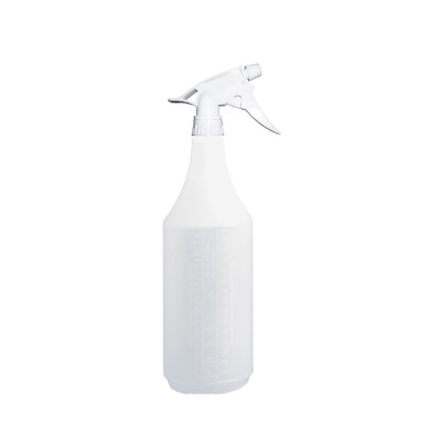 Boardwalk Embossed Spray Bottle, 32 oz, Clear + Trigger Sprayer 300ES f/32 oz Bottles, White, 9.5 inch Tube - Part Number: 8301-01100