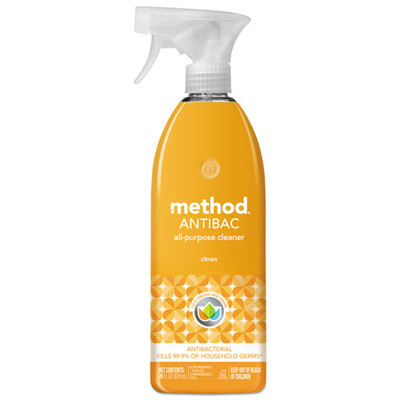 Case of 8 - Method Antibacterial Spray, Citron Scent, 28 oz Plastic Bottle - Part Number: 8301-02411CT