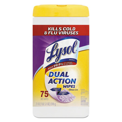 Case of 6 - Lysol Dual Action Disinfecting Wipes, Citrus, 7 x 8, 75/Canister - Part Number: 8303-00106CT