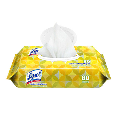 Lysol Disinfecting Wipes, 7 x 8, Lemon, 80 Wipes/Pack - Part Number: 8303-00114
