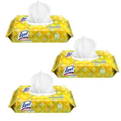 Case of 3 - Lysol Disinfecting Wipes, 7 x 8, Lemon, 80 Wipes/Pack - Part Number: 8303-00114PK