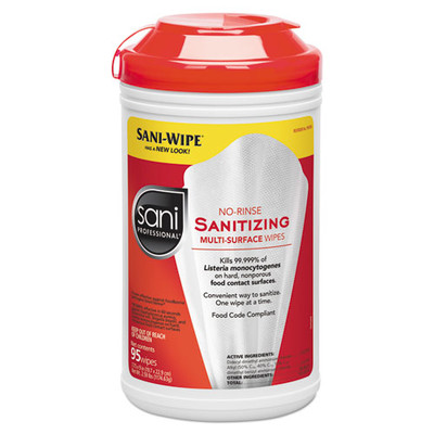 Sani Professional No-Rinse Sanitizing Multi-Surface Wipes, White, 95 Sheets/Container - Part Number: 8303-00403