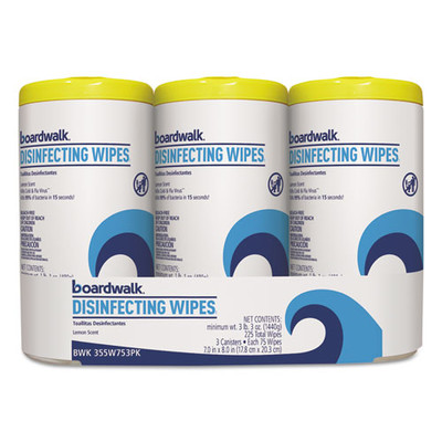 Case of 4 - Boardwalk Disinfecting Wipes, 8 x 7, Lemon Scent, 75/Canister, 3 Pack - Part Number: 8303-02302CT
