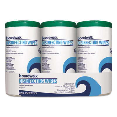 Boardwalk Disinfecting Wipes, 8 x 7, Fresh Scent, 75/Canister, 3-pack - Part Number: 8303-02306