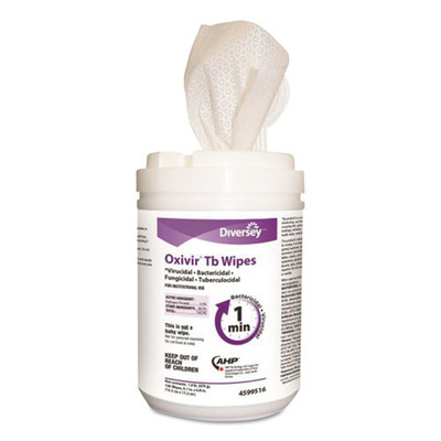 Case of 12 - Diversey Oxivir TB Disinfectant Wipes, 6 x 7, White, 160 Sheets/Canister - Part Number: 8303-02452CT