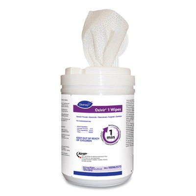 Diversey Oxivir 1 Wipes, Characteristic Scent, 10 x 10 inches, 60/Canister - Part Number: 8303-02455