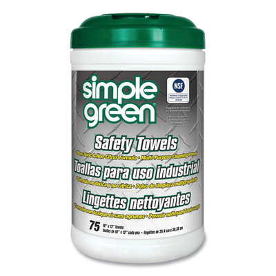 Simple Green Safety Towels, 10 x 11.75 inches, 75/Canister - Part Number: 8303-02521