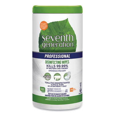 Seventh Generation Professional Disinfecting Multi-Surface Wipes, 8 x 7, Lemongrass Citrus, 70/Canister - Part Number: 8303-02704