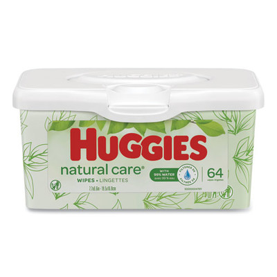 Huggies Natural Care Baby Wipes, Unscented, White, 64/Tub - Part Number: 8303-04401