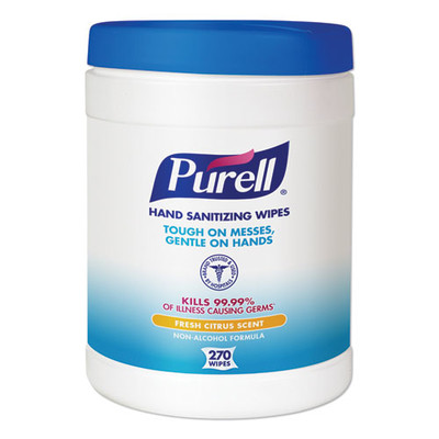 Purell Sanitizing Hand Wipes, 6 x 6 3/4, White, 270 Wipes/Canister - Part Number: 8303-06301