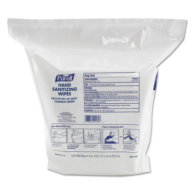 Purell Hand Sanitizing Wipes, 6 x 8 inches, White, Fresh Citrus Scent, 1200/Refill Pouch - Part Number: 8303-06303