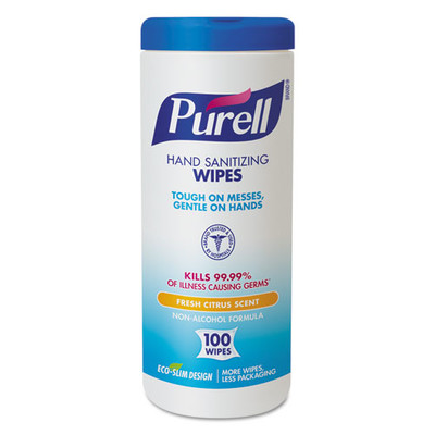 Purell Premoistened Hand Sanitizing Wipes, Cloth, 5.75 x 7 inches, 100/Canister - Part Number: 8303-06304