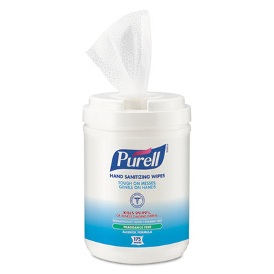 Purell Hand Sanitizing Wipes Alcohol Formula, 6x7, White, 175/Canister - Part Number: 8303-06305