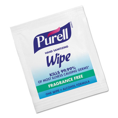 Purell Premoistened Sanitizing Hand Wipes, Individually Wrapped, 5 x 7, 1000/Carton - Part Number: 8303-06306CT