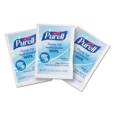 Purell Cottony Soft Individually Wrapped Sanitizing Hand Wipes, 5 x 7, 1000/Carton - Part Number: 8303-06307CT