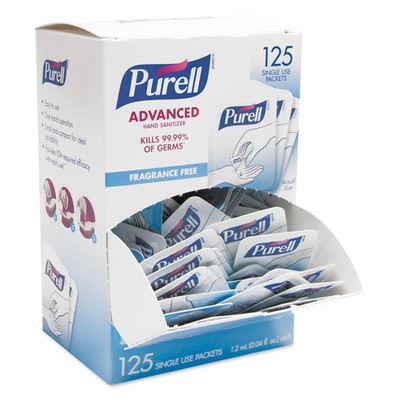 Purell Single Use Advanced Gel Hand Sanitizer, 1.2 mL, Packet, Clear, 125/Box - Part Number: 8303-06308