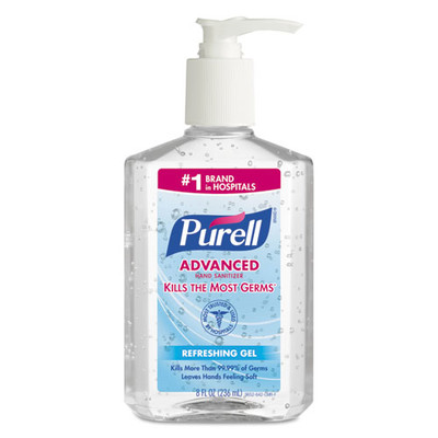 Purell Advanced Hand Sanitizer Refreshing Gel, Clean Scent, 8 oz Pump Bottle - Part Number: 8304-06101