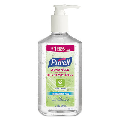 Case of 12 - Purell Advanced Hand Sanitizer Green Certified Gel, Fragrance-Free, 12 oz Pump Bottle - Part Number: 8304-06159CT