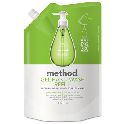 Method Gel Hand Wash Refill, Green Tea and Aloe, 34 oz Pouch - Part Number: 8304-06403