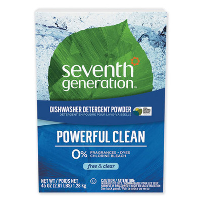 Seventh Generation Automatic Dishwasher Powder, Free and Clear, 45oz Box - Part Number: 8306-03701