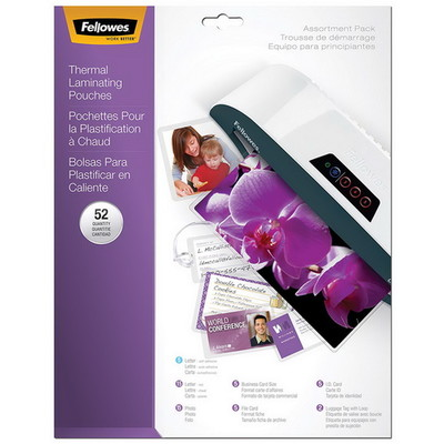 Fellowes Hot Laminating Pouches, Assorted ,3mil, 52PK - Part Number: 8701-00103