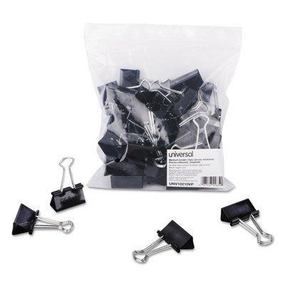 Universal Binder Clips in Zip-Seal Bag, Medium, Black/Silver, 36/Pack - UNV10210VP - Part Number: 8701-00201