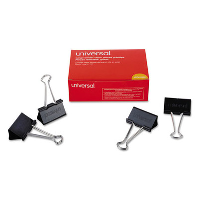 Universal Binder Clips, Large, Black/Silver, 12/box - UNV10220 - Part Number: 8701-00202