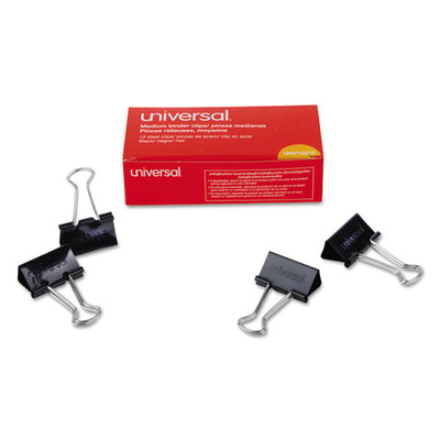 Universal Binder Clips, Medium, Black/Silver, 12/pack - UNV10210 - Part Number: 8701-00203